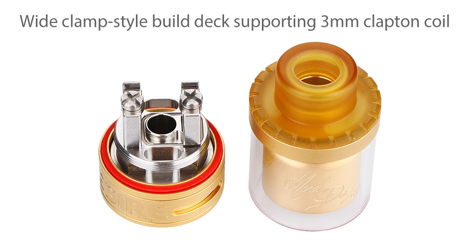 Desire Mad Dog GTA 3.5ml Wide clamp style build deck supporting 3mm clapton coil