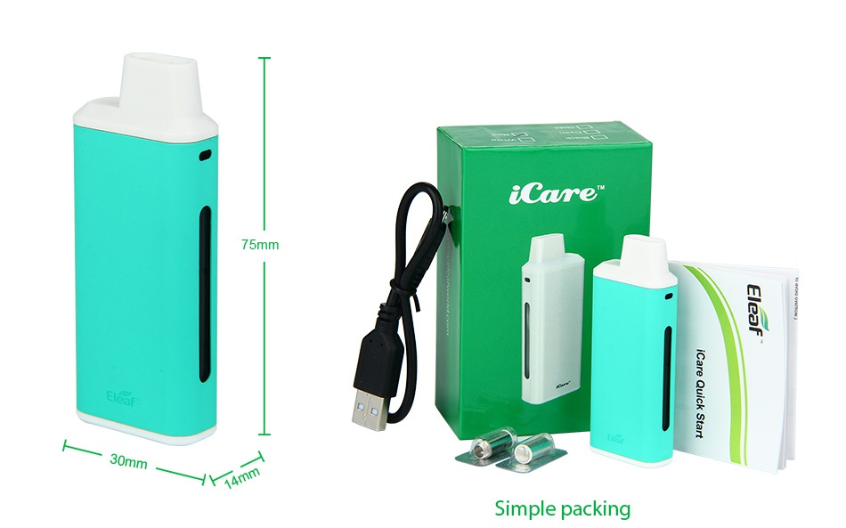 Eleaf iCare Starter Kit 650mAh 75mm 30mm Simple packing