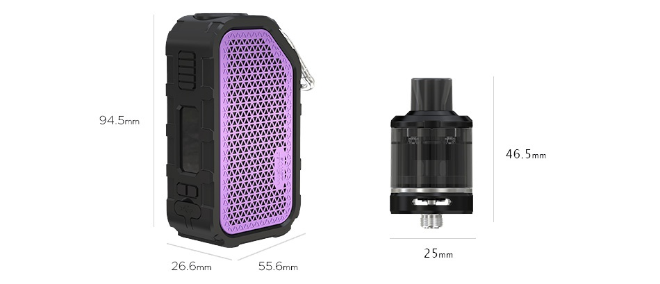 WISMEC Active Bluetooth Music TC Kit with Amor NSE 2100mAh   46 5 26 6mm 55 6mm