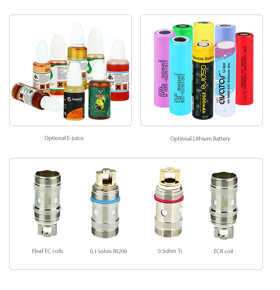 Eleaf iStick Pico RESIN 75W with Melo 3 Mini Kit Optional E juice Optional Lithium Battery Leaf ec coil 0 1 ohm Ni200 0 ohm Ti ECR coil