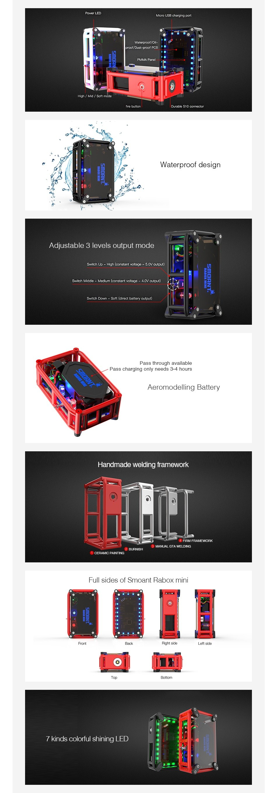 Smoant RABOX Mini MOD 3300mAh Waterproof des Adjustable 3 levels output mode ct Aeromodelling Battery Handmade welding framework Full sides of smoant rabox min Eack Filt side LefT Eide Atom ng