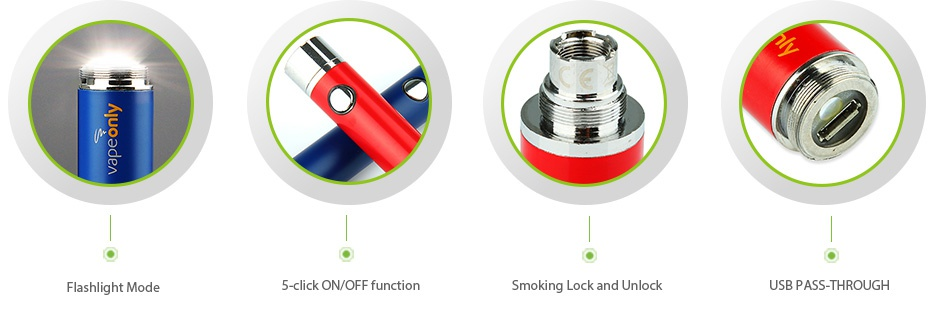 VapeOnly eGo USB Flashlight Battery 650mAh   Flashlight Mod 5 click oN OFF function Smoking Lock and lock USB PASS THROUGH