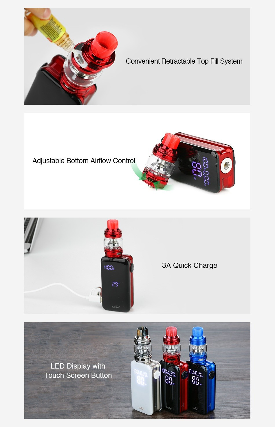 Eleaf iStick Nowos 80W VW Kit with ELLO Duro 4400mAh Convenient Retractable Top Fill System Adjustable Bottom Airflow Control 3A Quick Charge LED Display with Touch screen button
