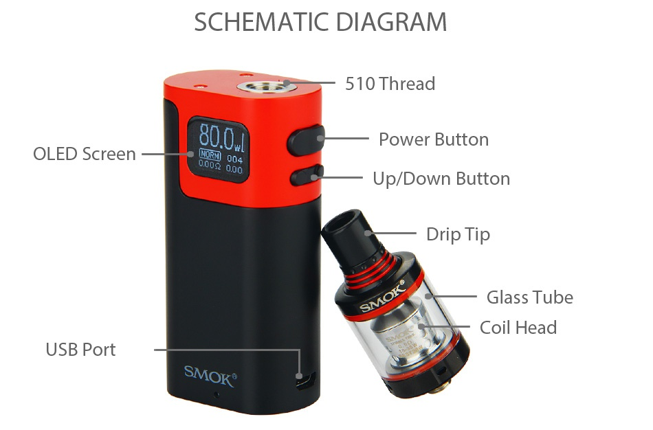 SMOK G80 Kit with Spirals Tank 80 Black red Black Greel Gold black ver