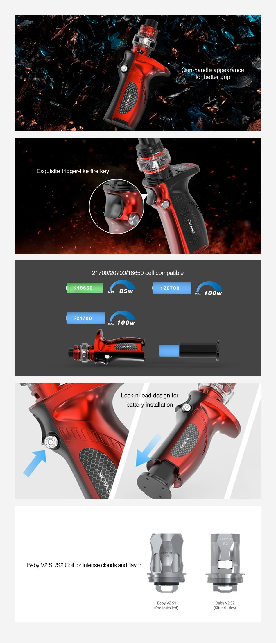 SMOK Mag Grip 100W TC Kit with TFV8 Baby V2 eun handle appearance for better grip Exquisite trigger like fire key 21700 20700 18650 cell compatible 18650 85 20700 21700 MAx 100w Lock n load design for battery installation o Baby v2 S1 S2 Coil for intense clouds and flavor Baby V2 S2