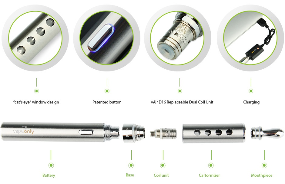 VapeOnly vCat Starter Kit 1100mAh cat s eye window design vAir D16 Re vapeonly Battery Coil unit Mouthpiece