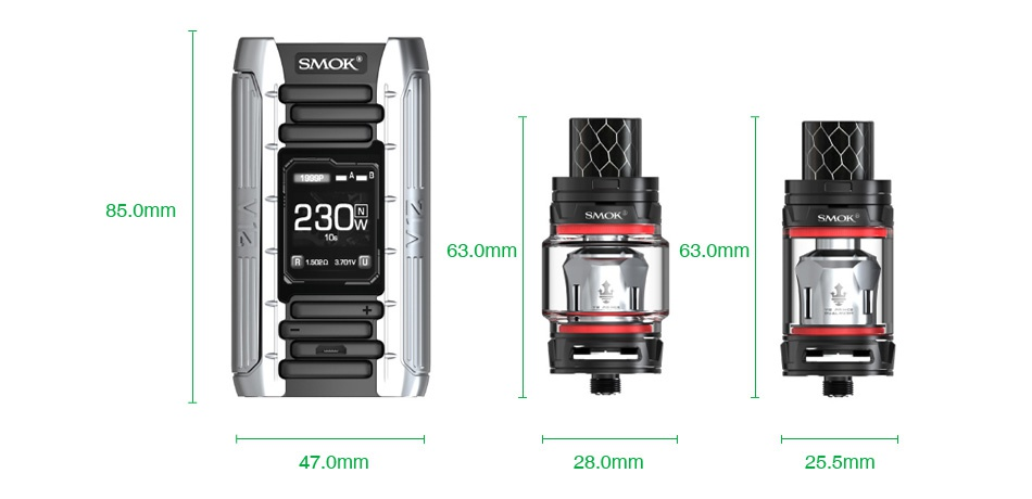 SMOK E-Priv 230W TC Kit with TFV12 Prince Tank SMOK 85 0mm 230 SMOK 63 0mm 63 0mm 47 0mm 25 5mm