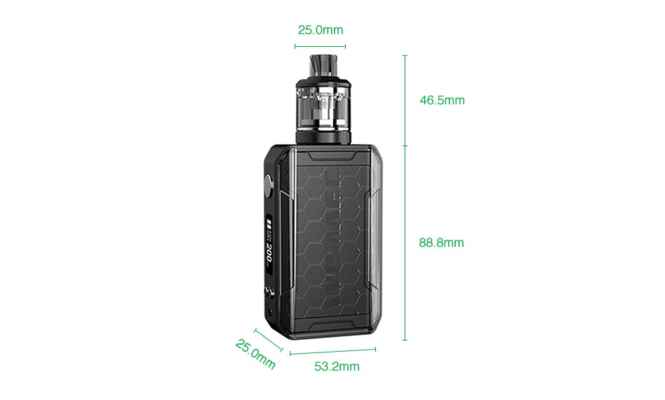 WISMEC SINUOUS V200 200W TC Kit with Amor NSE 25 0mm 46 5mm 888mm 53 2mm