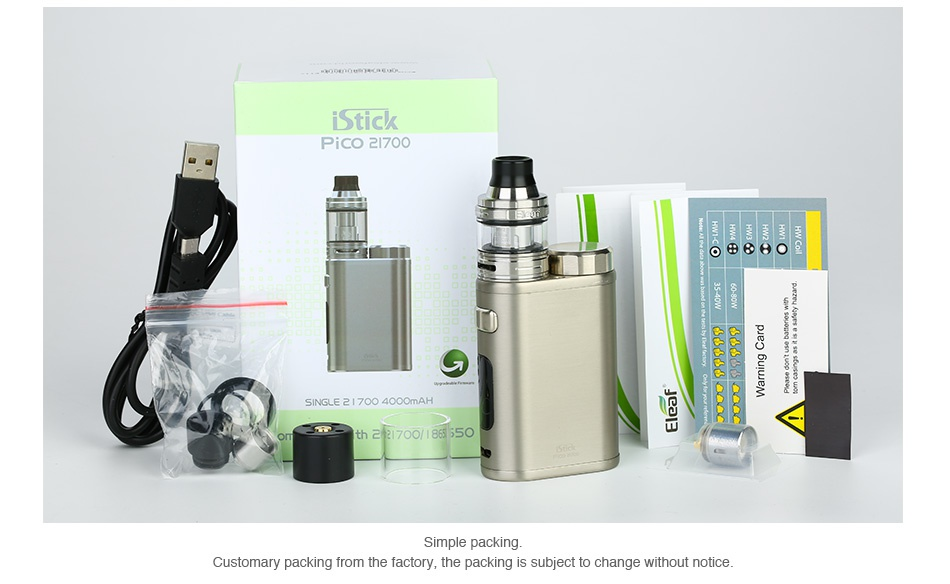 Eleaf iStick Pico 21700 100W with Ello TC Kit 4000mAh Stick Pico 7oo 70   Simple packing Customary packing from the factory  the packing is subject to change without notice