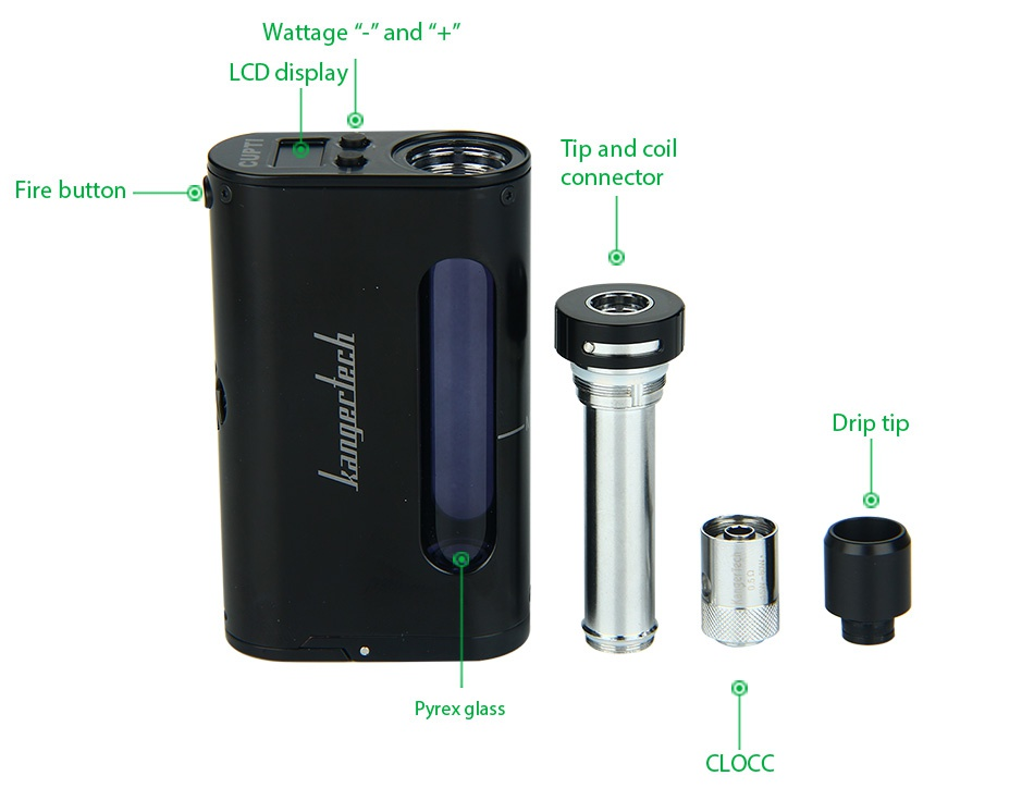 Kangertech CUPTI 75W TC Starter Kit Wattage LCd displa Tip and coil p Fire button connector Drip tip n a CLOCC