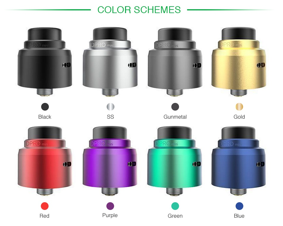 CoilART DPRO Mini RDA COLOR SCHEMES DPRO ack Gunmetal Gol Red G