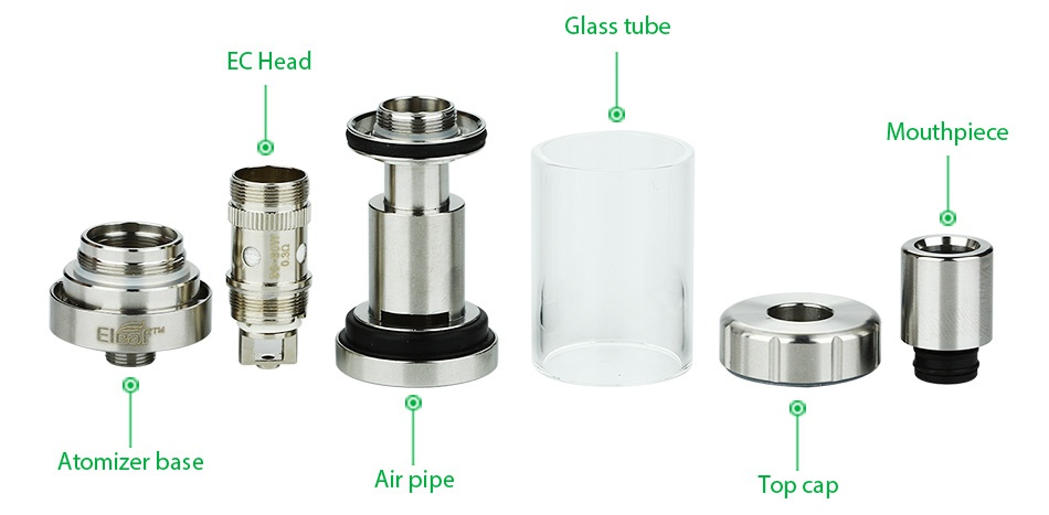 Eleaf iStick Pico Mega 80W TC Full Kit Glass tube EC Head Mouthpiece E Atomizer base Air pipe T