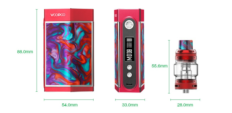 VOOPOO TOO Resin 180W TC Kit with UFORCE T1 VOODOO 88 0mm 55 6mm 54 omm 33 0mm 28 0mm
