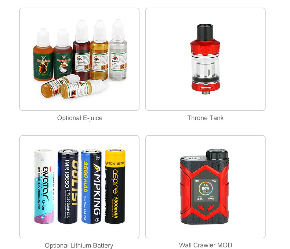 Vaptio Wall Crawler 80W TC Kit with Throne Tank Optional E juice Throne Tank onoi8 z   all Crawler MOD