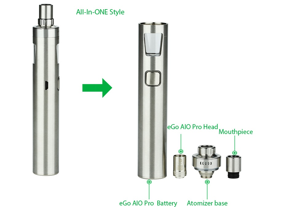 Joyetech eGo AIO Pro Start Kit 2300mAh All In oNE Style eGo AlO Pro Head Mouthpiece e Go Alo Pro Battery Atomizer base