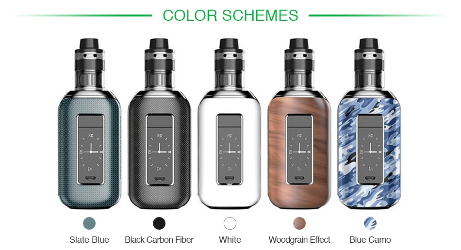 Aspire Skystar 210W Touch Screen TC Kit with Revvo COLOR SCHEMES Slate blue black carbon fiber White Woodgrain effect Blue camo