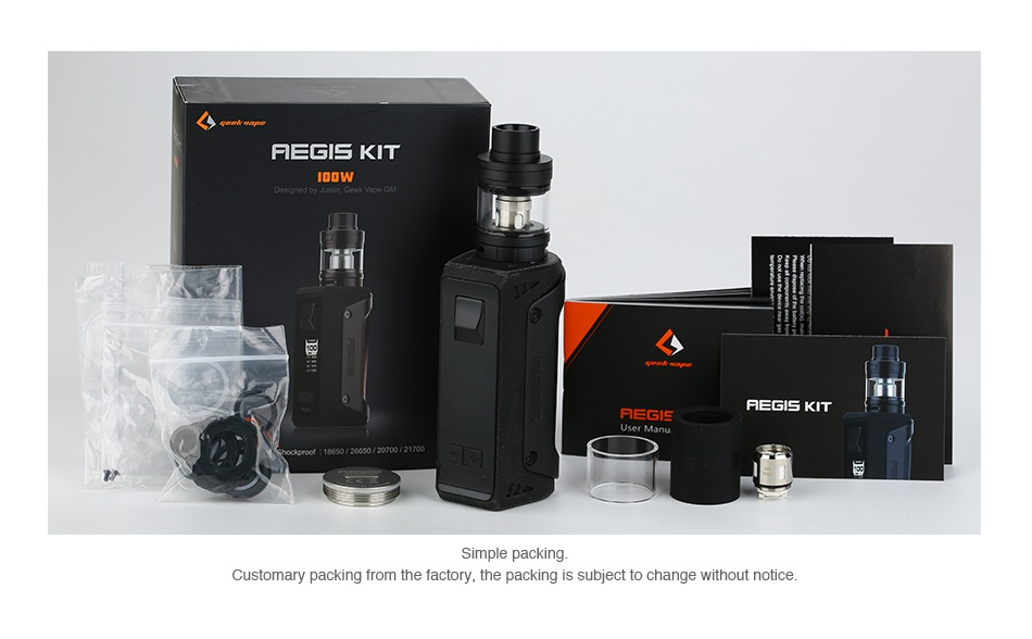 GeekVape Aegis 100W 26650 TC Kit with Shield Tank REGIS KIT   HEGIS KIT Simple packing Customary packing from the factory  the packing is subject to change without notice