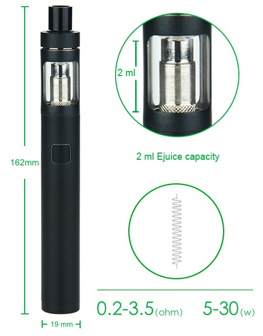 Joyetech eGo Twist+ Kit with CUBIS D19 Atomizer 1500mAh 162n 2 ml Juice capacity 0 2 3 5om5 30 19 mm