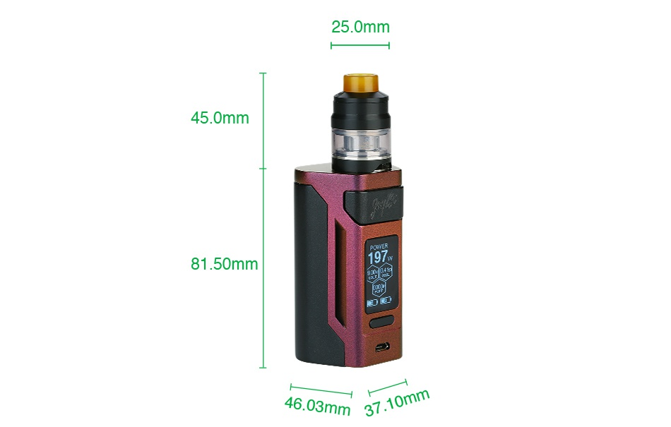 WISMEC Reuleaux RX2 21700 230W with Gnome TC Kit 8000mAh 25 0mm 450mm 81 50mm 4603mm37 10mm