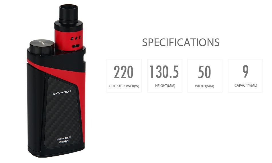 SMOK SKYHOOK RDTA BOX Starter Kit SPECIFICATIONS 220130 5509 OUTPUT POWER W EIGHT MM  CAPACITY ML