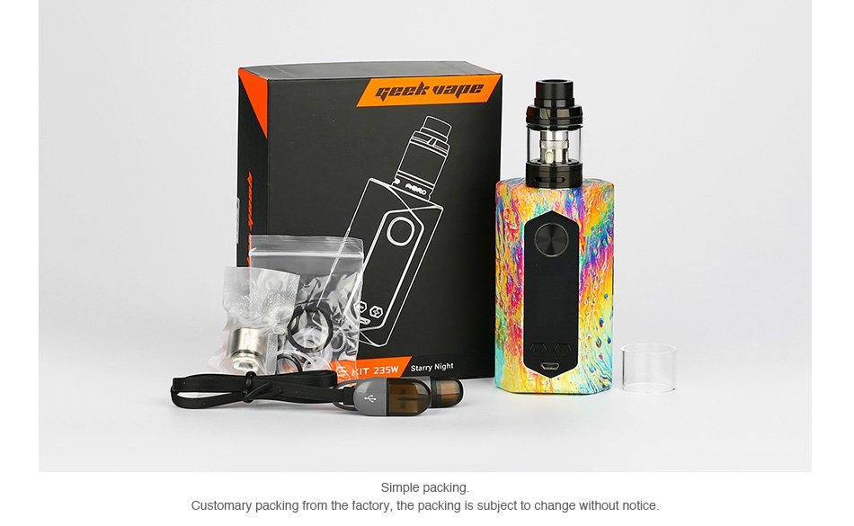 GeekVape Blade 235W TC Kit with Aero Tank Customary packing from the factory  the packing is subject to change without notice