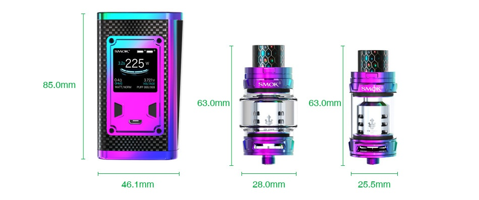 SMOK Majesty 225W TC Kit with TFV12 Prince Luxe Edition 85 0mm A SMdK 63 0mm 63 0mm 46 1mm 28 0mm 25 5mm