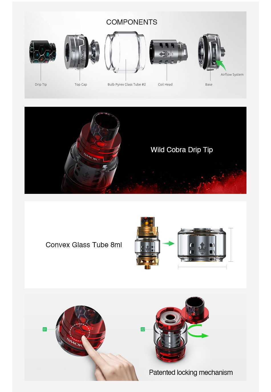 SMOK TFV12 PRINCE Cloud Beast Tank 8ml/2ml COMPONENTS Drip Tip Top Cap Bulb Pyrex Glass Tube  2 Coil Head Base Wild cobra Drip Tip Convex glass tube 8n 02 Patented locking mechanism