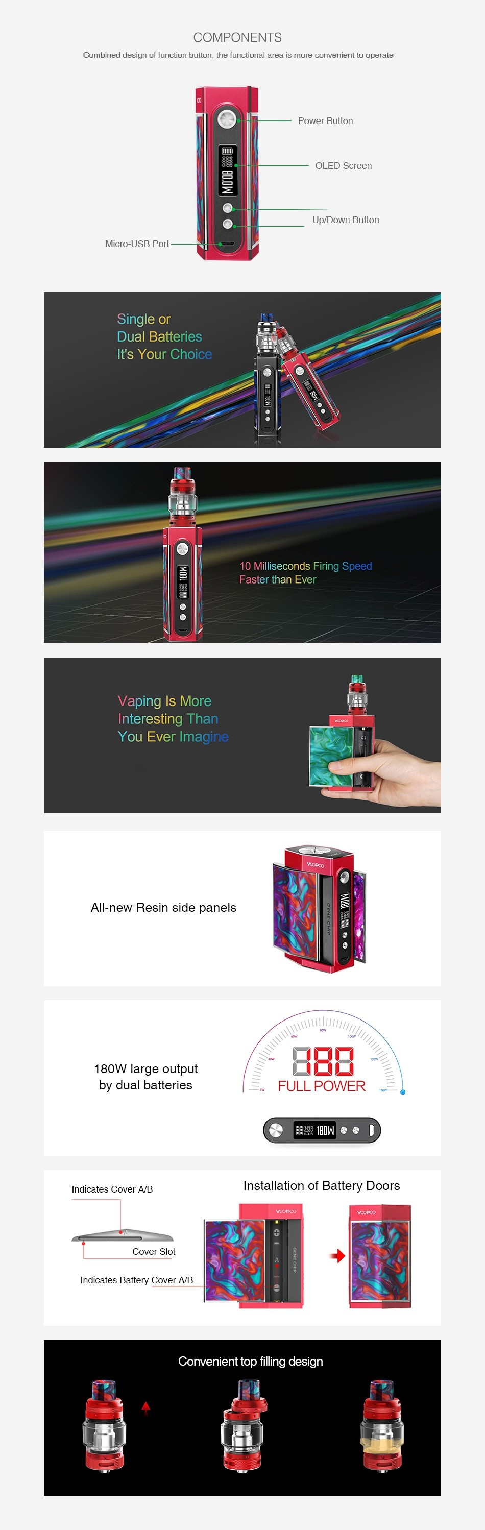VOOPOO TOO Resin 180W TC Kit with UFORCE T1 COMPONENTS Combined design of tunction button  the functional area is more convenient to operate    OLED Scrccn Up Down Butto Micro LISR Port Single or Dual batteries It s Your Choice 10 Milliseconds Firing Speed Faster than Ever Vaping Is More Interesting Than You ever imagine All new Resin side panels 180W large output by dual batteries FULL POWER nd catcs cover A Installation of Battery Doors Convenient top filling design