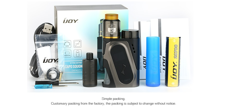 IJOY CAPO 100W 20700 Squonker Kit 3000mAh JOY   CAPO SQUON ng  Customary packing from the factory  the packing is subject to change without notice