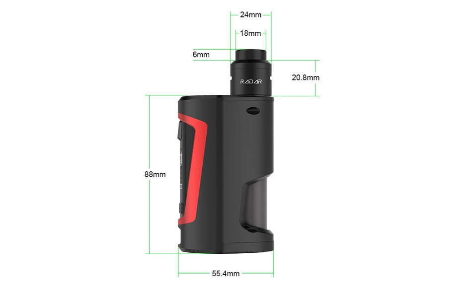 GeekVape GBOX Squonker 200W TC Kit with Radar RDA 24mm mm 20 8mm 88mm 55 4mm