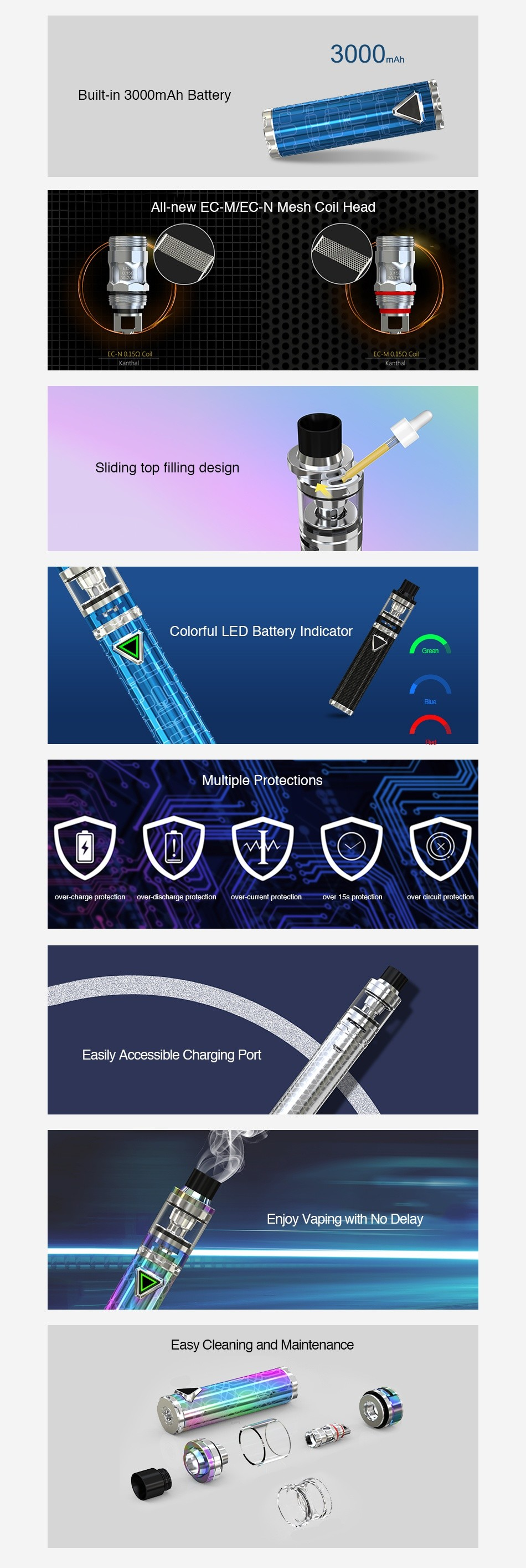 Eleaf iJust ECM Starter Kit 3000mAh 3000m Built in 3000mAh Battery All new EC M EC N Mesh Coil Head Sliding top filling design Colorful LED Battery Indicator Multiple Protections er charge Frctec scharge protector nt protecton Easily Accessible Charging Port Enjoy vaping with No Delay Easy Cleaning and Maintenance