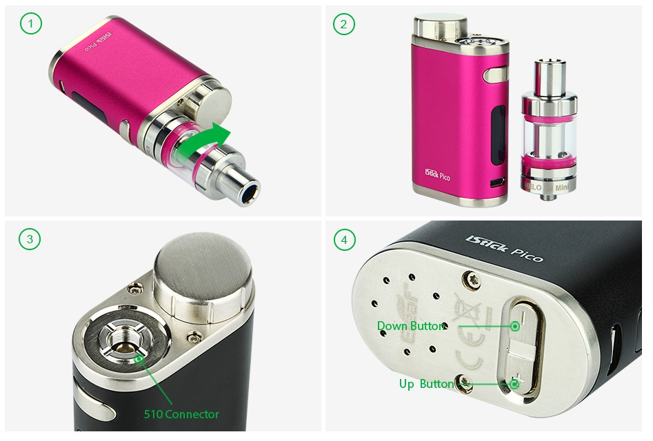 Eleaf iStick Pico 75W TC Full Kit c Up Button 510 Connector