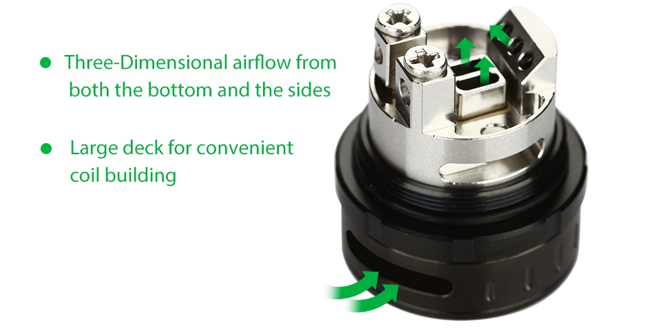 GeekVape Ammit RTA 3.5ml Three Dimensional airflow from both the bottom and the sides Large deck for convenient coil building