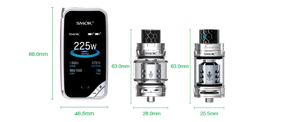 SMOK X-Priv 225W TC Kit with TFV12 Prince SMOKS 225W 88 0mm SMOK 630mm 993 1000 46 5mm 28 0mm 5mm