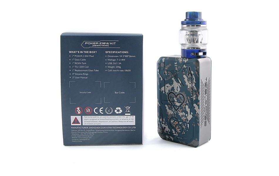 Tesla Poker 218 TC Kit with Resin Tank PACKING LIST