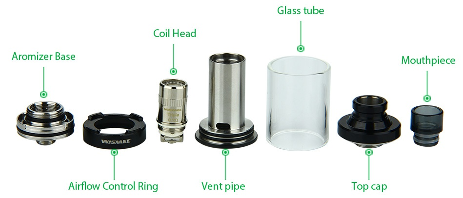 WISMEC Vicino Starter Kit Glass tube Dll Hea Aromizer base Mouthpiece Airflow Control Ring Vent pipe op cap