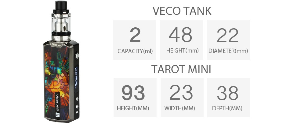 Vaporesso Tarot Mini TC 18650 Kit 80W VECO TANK 24822 CAPACITY ml  HEIGHT mm  DIAMETER mm  TAROT MINI 932338 HEIGHT MM  WIDTH MM