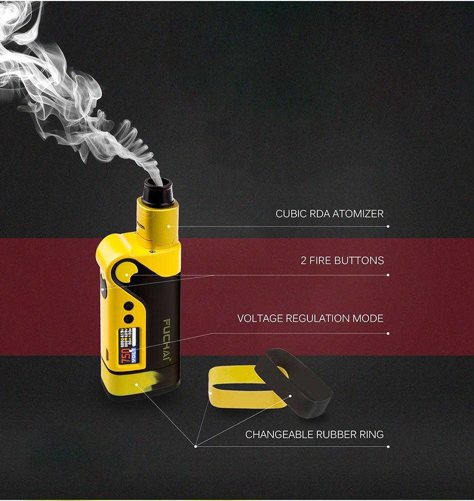 Vcigo K2 230W TC Kit CUBIC RDA ATOMIZER 2 FIRE BUTTONS OLTAGE REGULATION MODE CHANGEABLE RUBBER RING