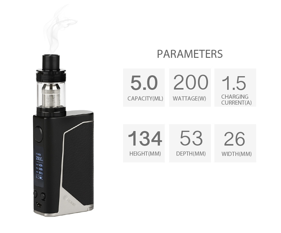 Joyetech eVic Primo 200W with UNIMAX 25 Full Kit PARAMETERS 5 02001 5 CAPACITY ML WATTAGE W  CHARGING CURRENT A  1345326 HEIGHT  MN DEPTH MM  WIDTH MM