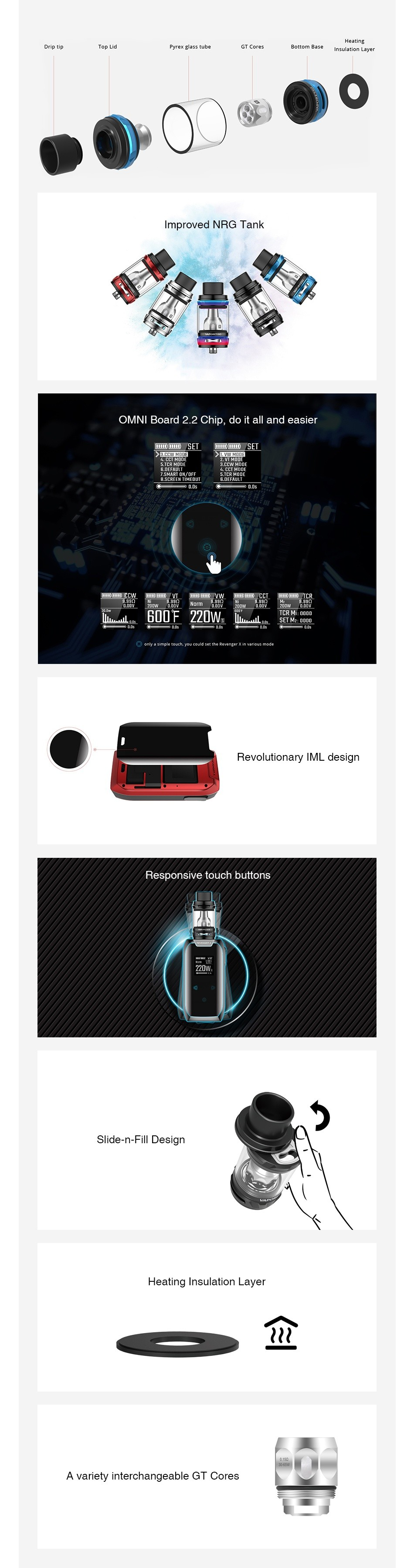 Vaporesso Revenger X 220W with NRG TC Kit VAPORESSO VAPORESSO EVEnT R REVENE   WW Norm Norm Norm Norm 220W4 220W 220W2 220W2 Green Red Rainbow Black Blue