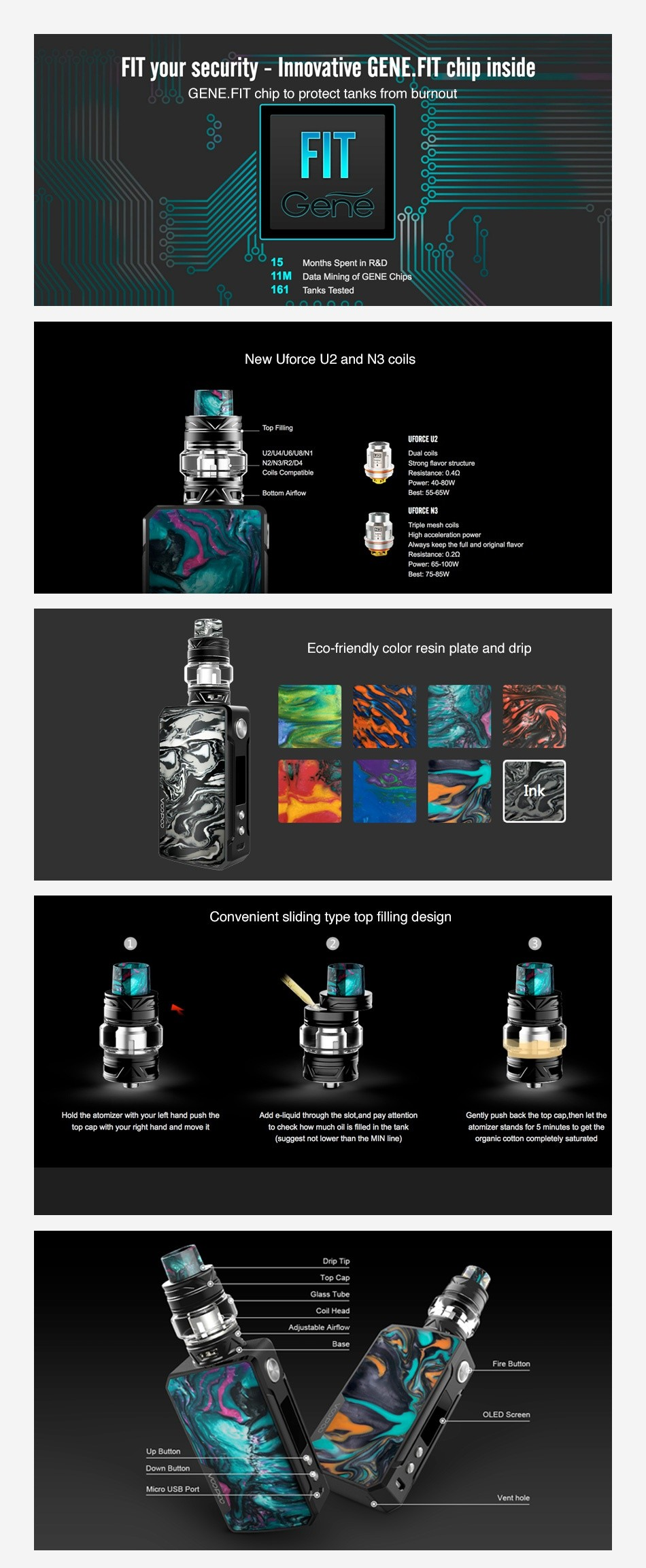 VOOPOO Drag 2 177W TC Kit with UFORCE T2 FIT your security  Innovative GENE FIT chip inside loo GENE FIT chip to protect tanks from burnout FIT 15 Months Spent in R D ata Mining of GENE Chips 161 Tanks Tested New force u2 and n3 coils UFORCE UZ Dual coils Powor  85 100W Eco friendly color resin plate and drip Convenient sliding type top filling design top cap with your nght hand anc move it to check how much oil is tiled n tre tank atomizer stands for 5 minutes uggest not lower than the MIN Ine  organic cotton completely satureted Drp TIp Fire Butter OLED Sereen Down Button Vent hole