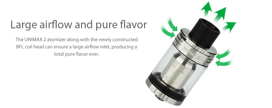 Joyetech eVic Primo 2.0 228W with UNIMAX 2 Full Kit arge airflow and pure flavor AX 2 atomizer along with the newly constructe ead can ensure a large airflow inlet  producing otal pure Flavor ever