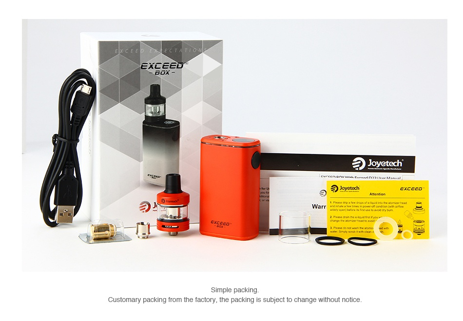 Joyetech Exceed Box with Exceed D22C Starter Kit 3000mAh EXLCCD aJoy Customary packing from the factory  the packing is hange without notice
