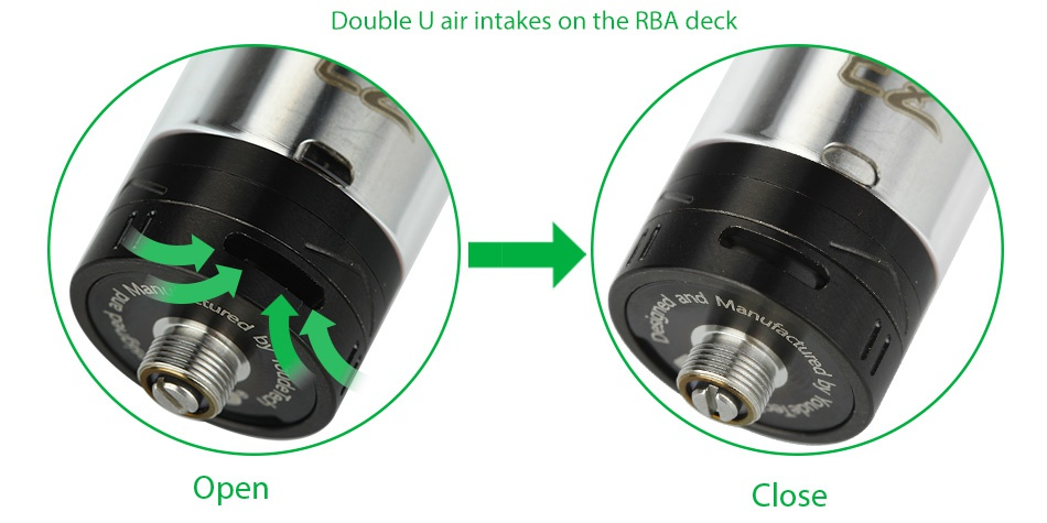 UD EZ RTA Tank 4ml Double u air intakes on the rba deck Open Close
