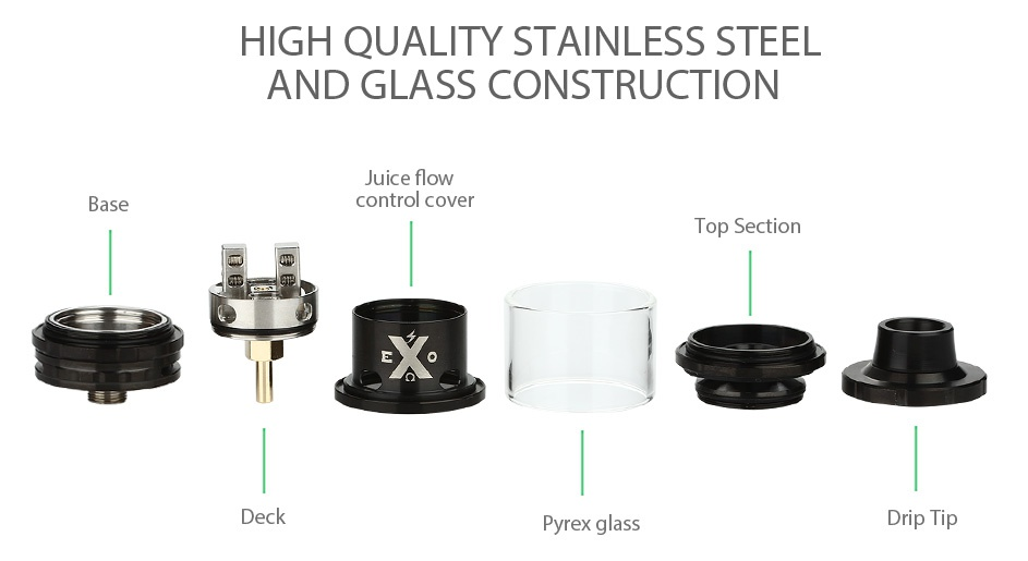 IJOY EXO RTA 6ml HIGH QUALITY STAINLESS STEE AND GLASS CONSTRUCTION uIce Tlow ase control cover Top Section Deck yrex glass Drip Tip