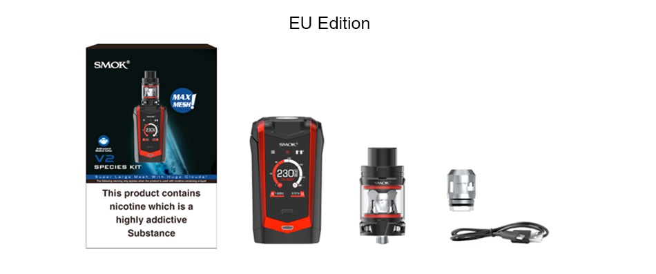 SMOK Species 230W Touch Screen TC Kit with TFV Mini V2 EU Edition SMOK This product contains nicotine which is a highly addictive
