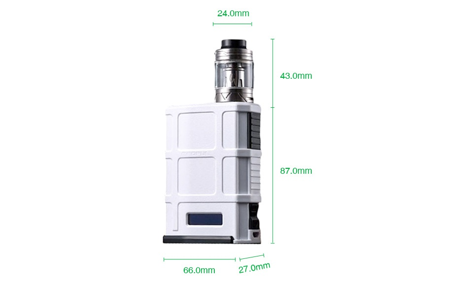 Cool Vapor MADPUL 200W VW Kit with LAVA Tank 24 0mm 43 0mm 87 0mm 66 0mm 27 0