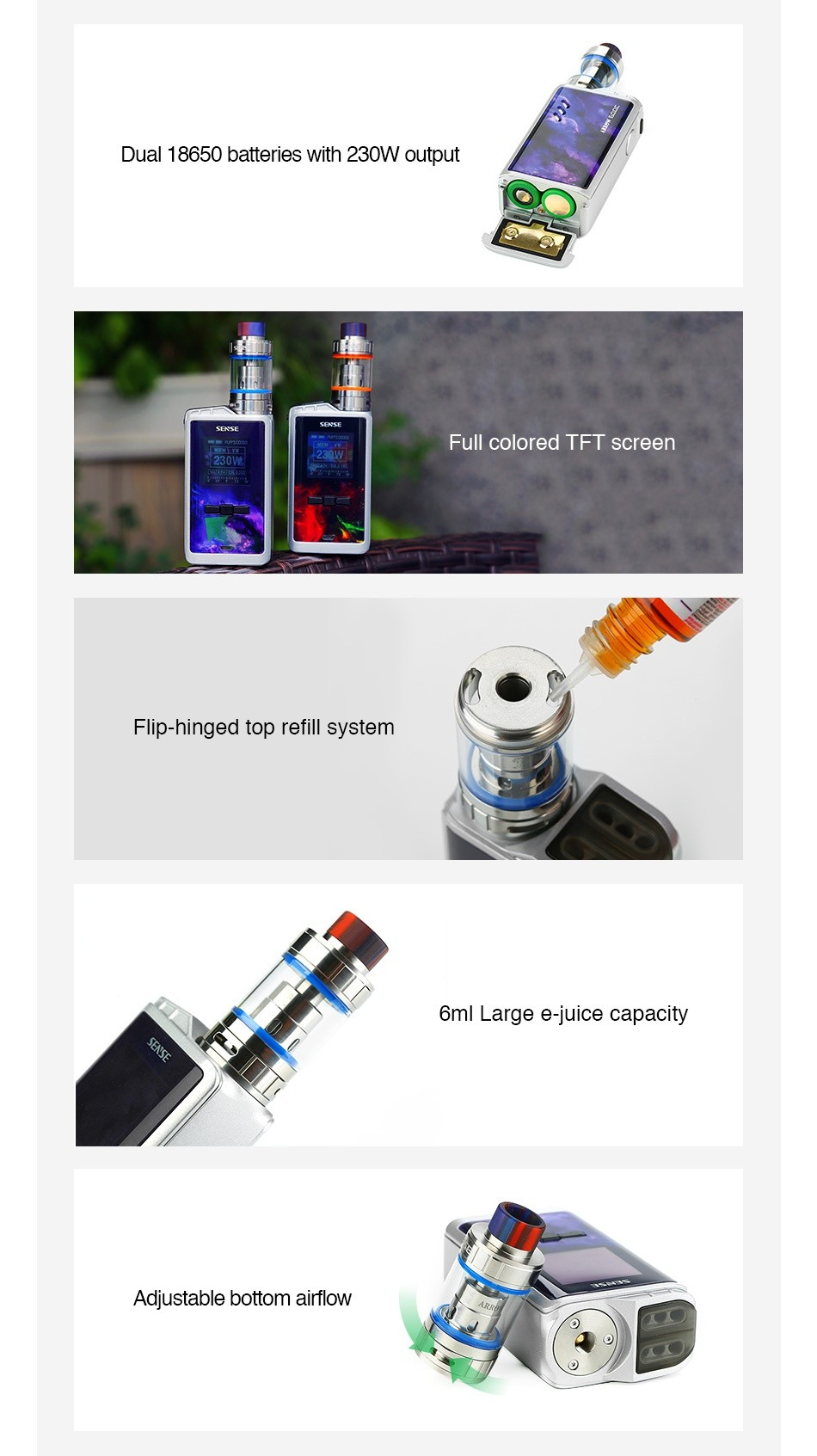 Linkedvape Classic Arrow 230W TC Kit Dual 18650 batteries with 230W output Full colored tft screen Flip hinged top refill system 6ml Large e juice capacity Adiustable bottom airflow