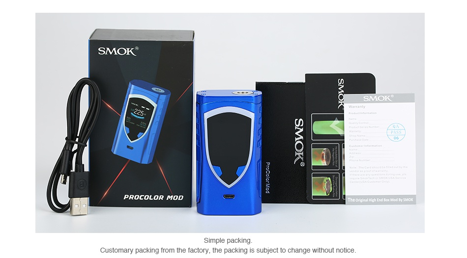 SMOK ProColor 225W TC Box MOD SMOK Q PROCOLOR MOD acker stomary packing fro actory  the packing is subject to change without notice