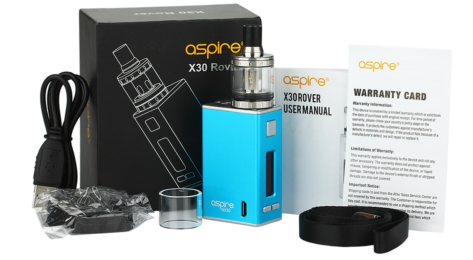Aspire X30 Rover Kit With Nautilus X And NX30 MOD 2000mAh aspire X30 Re ashine aspire  X30ROVER JARRANTY CARD USERMANUAL d Dh drec s cere b ntd are uh s adtm